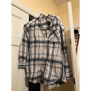 Topshop blue and white plaid shirt